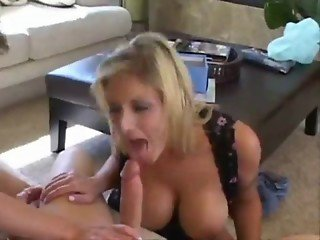 Blonde girl with big tits blowjob