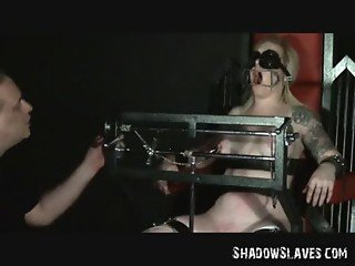 Tower of Pain for Blonde Slavegirl Angel in Tit Torments
