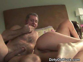 Brunette Teen Fucked And Taking Facial From Old Man