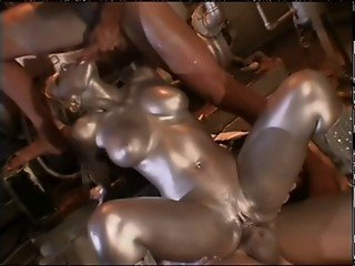 Audrey Hollander is a silver painted robot fucking the 2 guys that created her