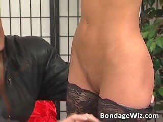 Sexy MILF in stockings gets her tits