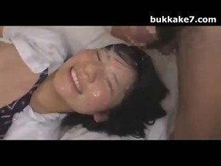 Japanese Teen Babe Drenched In Cum