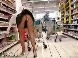 hottie goes grocery shopping with a butt plug up her ass