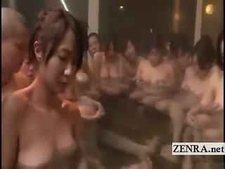 Subtitled group of Japanese milfs mixed bathing party
