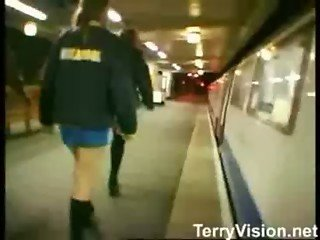 Girl Flasher on a Train