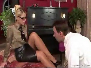 Nice nylon feet forced worship with teacher