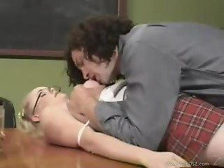 Blonde British Schoolgirl Amber Rain classroom sex with Old Teacher in Uniform