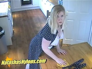 Fat Pantyhose Housewife Uses Big Dildo