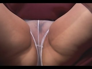 Granny in slip and see thru panties showing off hairy pussy