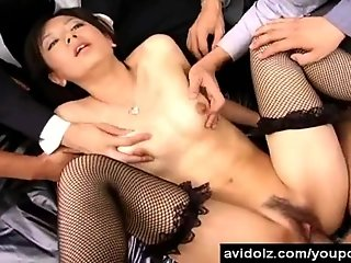 Japanese Office girl fucked by horny men