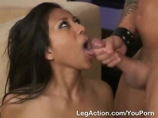 Asian in stocking teasing and banging