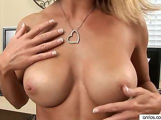 Busty Milf Housewife fills pussy with huge toy