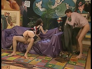 Sexy maid takes two cocks at one time (clip)