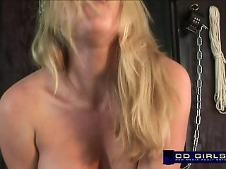 Sybian machine orgasm with amateur blond