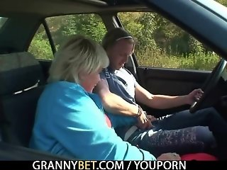 He picks up and bangs granny outside