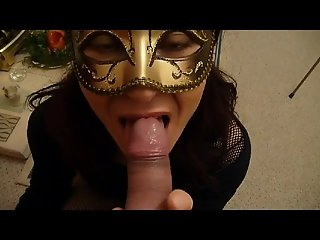 masked lady milking a cock! (complete with cum shot)