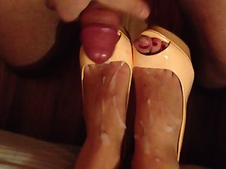 Best footjob and cum on high heels