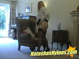 Strict Mistress English Housewife In Copper Fully Fashioned Stockings And Suspender Belt