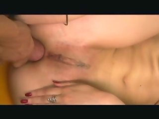Anal sex orgasm in fishnet lingerie