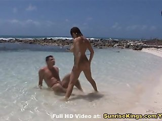 Beach sex with busty Roberta Gemma