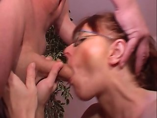 Redhead in glasses sucks and fucks guy crazy
