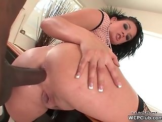 Hot brunette slut goes crazy getting fucked by a huge black cock