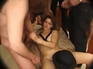 Horny french cute girl on bukkake