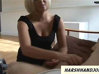 Classy blonde slaps dick quite harsh