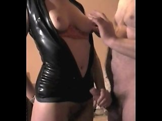 Mrs B Black Latex 2 fuck, titslap and handjob