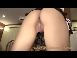 Stunningly sexy asian girl likes to play with cum