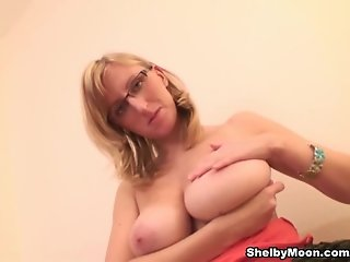 Shelby plays with her big melons