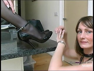 Hot lesbians talking dirty in sexy stilettos and stockings