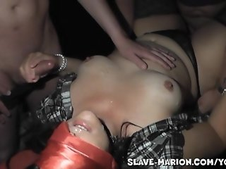 Amateur girl gangbanged in the porn movie theater