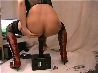 mandy riding black dildo
