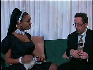 Amazing Hot Black Maid Make Boss Happy