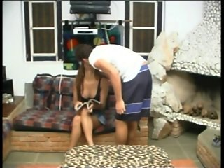 Cute shemale with perky tits anal fucks young stud on cheetah print coffee table