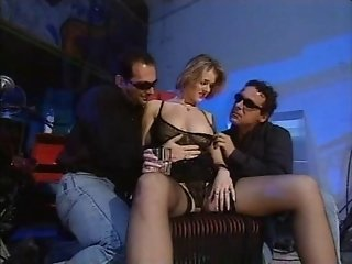 Threesome black stockings sex