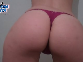 Best Ass Ever Pulling Out Pussy Lips out from Tiny Thong