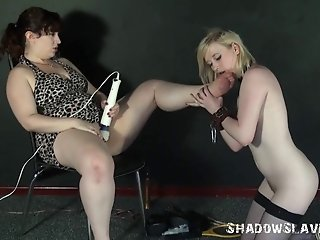 Blonde Satine Spark in bizarre lesbian humiliation and cruel