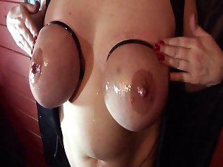 Huge Tits cable Tied and Oiled