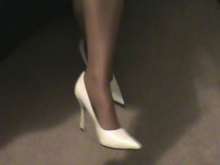 A little walk in white pumps with hooters poantyhose