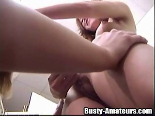 Lesbian Kira moaning from the dildo attack