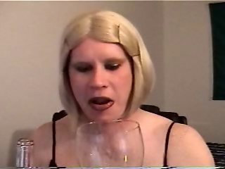 Vintage Carli drinking cum and wine together