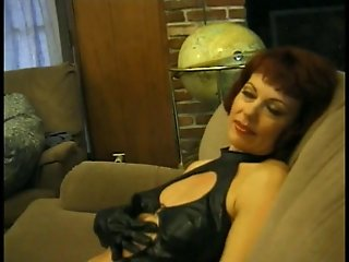 Mature red head sucks and gets fucked by a big dick in her squirting pussy