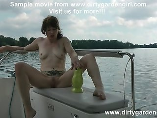 Extreme anal and cervix prolapse and huge toy on the boat