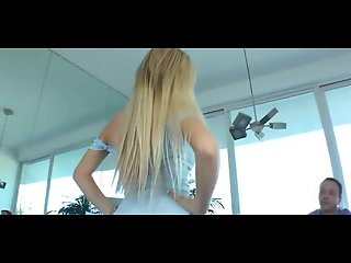 Beautiful Blond Girl Fucks a Submissed Guy with Strapon