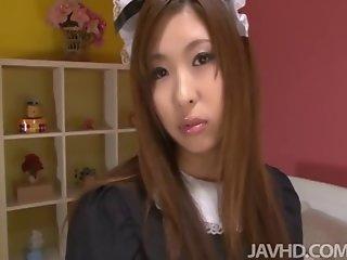 Japanese cutie Ami Kurosawa in a French maid uniform on the