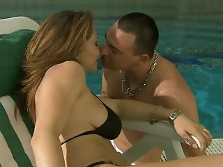 Milf skank in bikini being fucked in the pool room