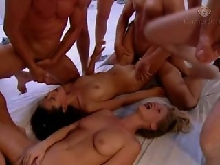 Two girls swallows cum at the gangbang girl 29