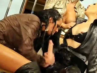 Horny dykes having fun with strapon
